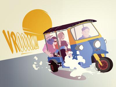 Family Tuktuk ride tuktuk poster digitalart artprint cartoon illustration manga comics funny family bangkok thailand