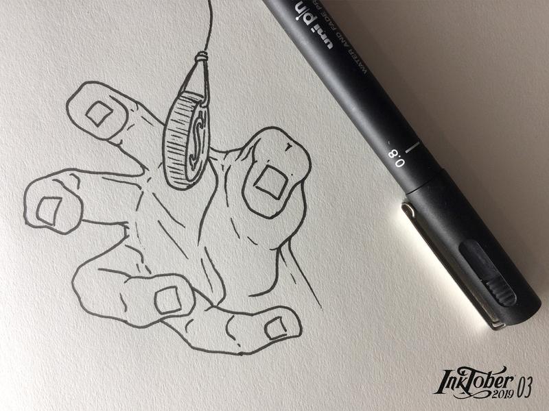 INKTOBER2019 / DAY 03 - BAIT artist money bait ink hand sketchbook sketch drawing draw inktober2019 inktober