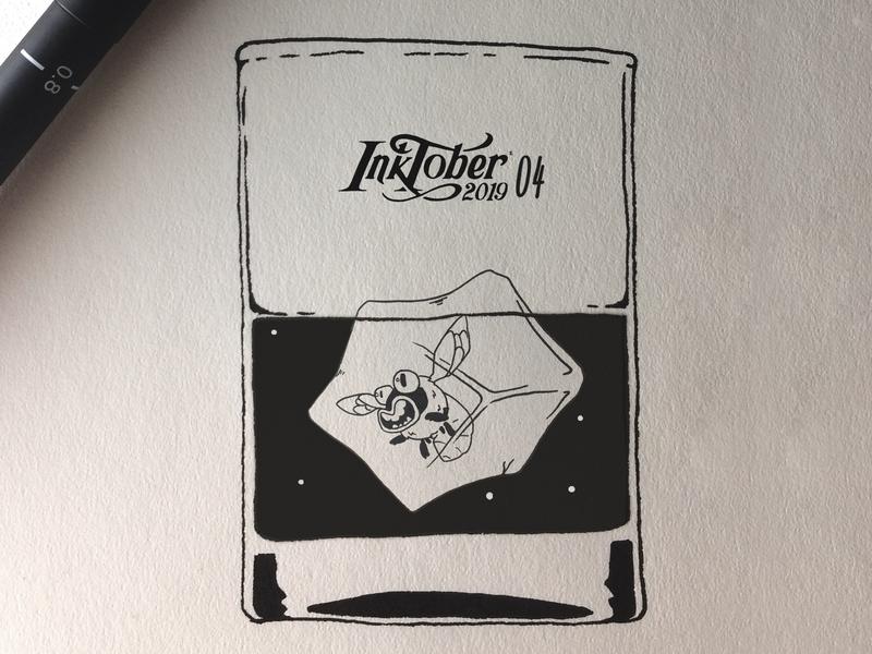 INKTOKER 2019 / DAY 04 - FREEZE inktober inktober2019 cartoon ice artist ink sketchbook sketch drawing drink freeze