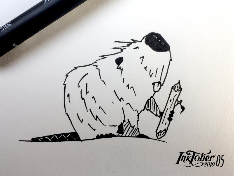INKTOKER 2019 / DAY - 05 BUILD illustration cartoon art sketchbook sketch drawing animal castor build inktober2019 inktober ink