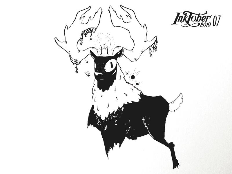 INKTOKER 2019 / DAY 07  Enchanted earth mother deer character animal sketchbook sketch draw drawing ink inktober2019 inktober enchanted