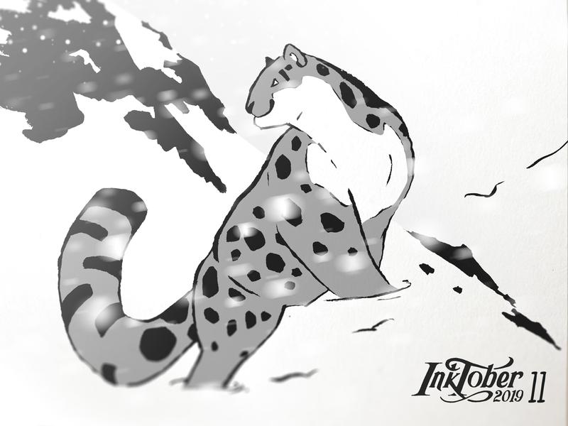 INKTOKER 2019 / Day 11 - Snow illustration panther animal snow sketchbook sketch drawing draw inktober2019 inktober ink