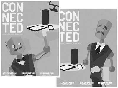 Connected concepts concept machine learning illustrator robot cover illustration illustration