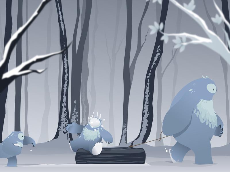 Snow scene vector illustrator illustration