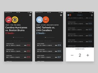 Sports tickets app concept