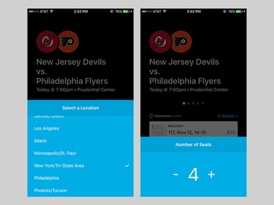 Sports tickets app (Location and quantity pickers)