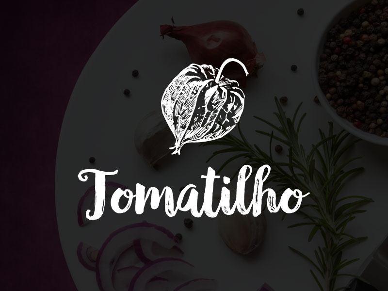 Tomatilho logo design kitchen tomato logo