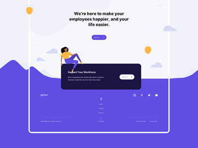 Rightfoot - Product Page steps process benefits features tiles footer brand design hero illustration ui design ux design product design product page landing page loan debt illustrations illustration