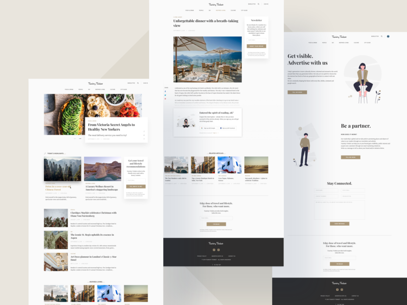 Touristy Trinket Landing Page minimalistic webdesign web design uiux travel illustrations articles stories sign up newsletter luxury landing page design landing page lifestyle art culture food trinket touristy tourism