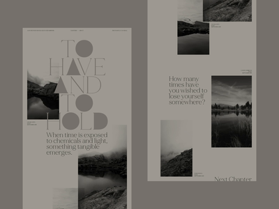 To Have And To Hold web design website typography photography nature mountains interaction design graphic design gallery dreams black and white art direction