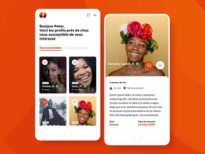 Afrimeety dating app logo african mobile app dating app design ux ux design mobile ui mobile