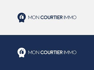 Mon Courtier Immo label real estate illustration vector graphism branding logo design