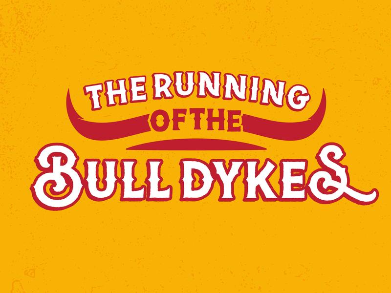 Running of the Bull Dykes texture illustrator yellow spain horns lgbtqia lgbt dyke bull typography illustration vector flat design