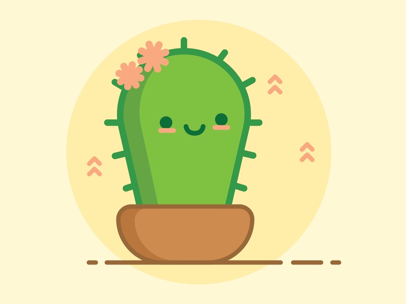 Baby Cactus plant cactus flat design vector illustration