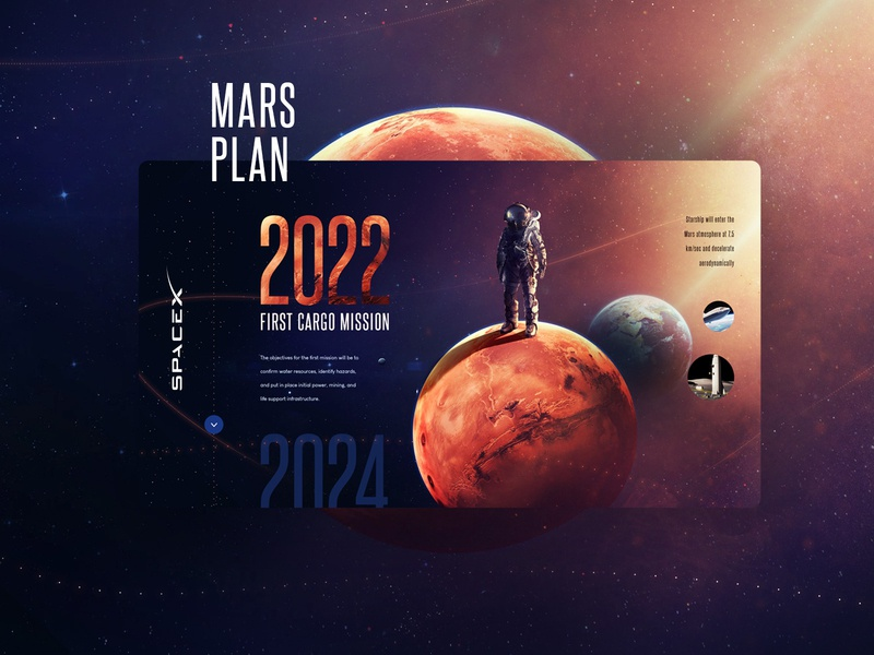 SpaceX Mars Plan 2022 Design webdesign wiwi minimal flat web responsive ui animation typography icons site colors mars space illustration icon web design design website ux