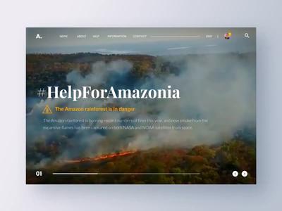 Help For Amazonia! - Design for Amazon animation uxui video design news globalwarming landingpage prayforamazonia webdesign rainforest savetheamazon brazil fire earth planet amazon help love prayforamazon amazonia