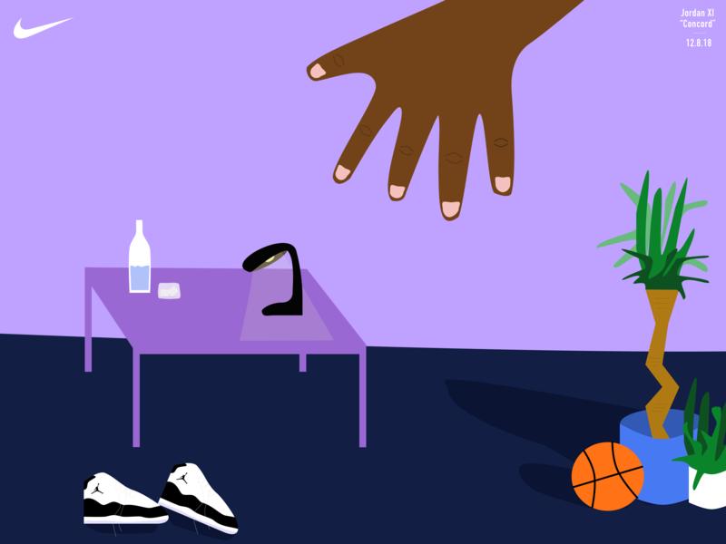 "Nike Basketball Jordan XI ""Concord"" vector illustration art design digital branding art direction"