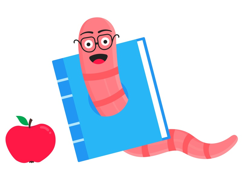Worm with apple cartoon character icon sigh. flat vector education student knowledge apple book bookworm worm earthworm
