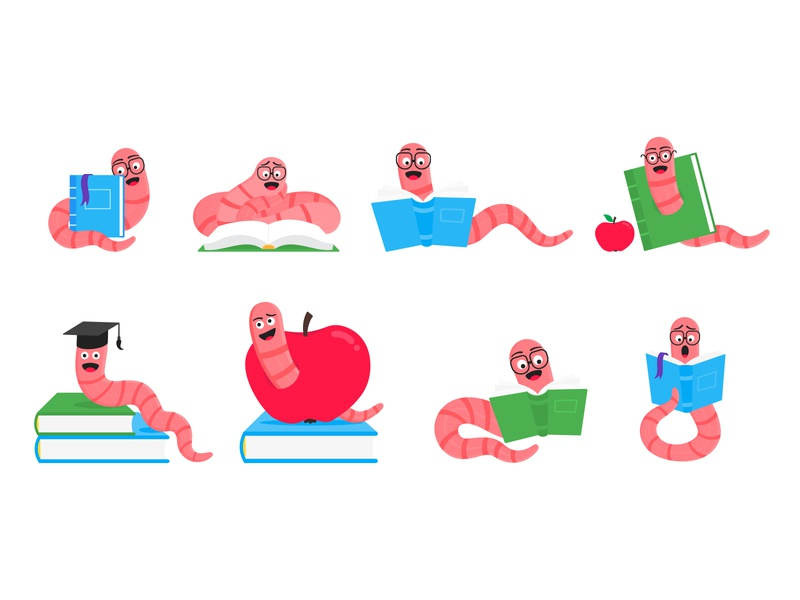 Bookworms attack! happy illustration vector flat hat apple glasses eyeglass book bookworm earthworm worm