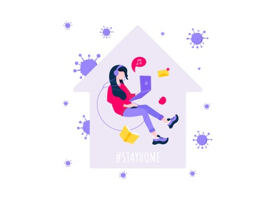 #stayhome illustration vector flat hashtag flashmob campaign stayhome stay qurantine coronavirus