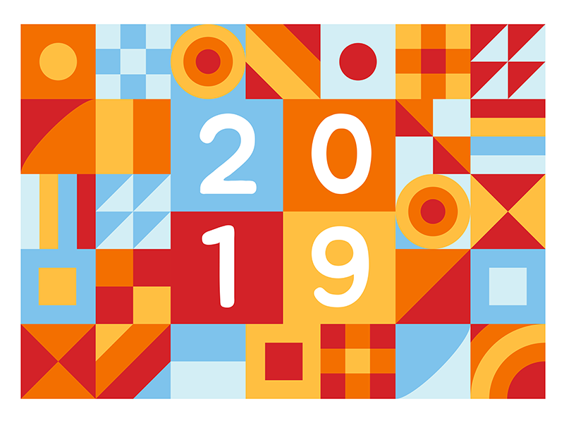 2019 Postcard square rectangle triangle circle number pattern geometric christmas year new happy 2019