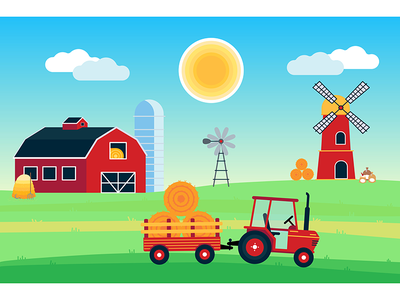 Country Harvest Landscape grass trailer sun bale hay tractor windmill mill silo barn red illustration