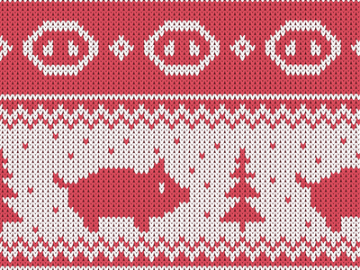 Christmas seamless knitted pattern with piglet and the fir