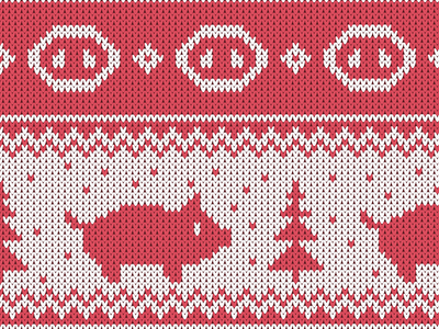 Christmas seamless knitted pattern with piglet and the fir tree pink illustration pig earthtones new year chinese piglet flat seamless pattern knit
