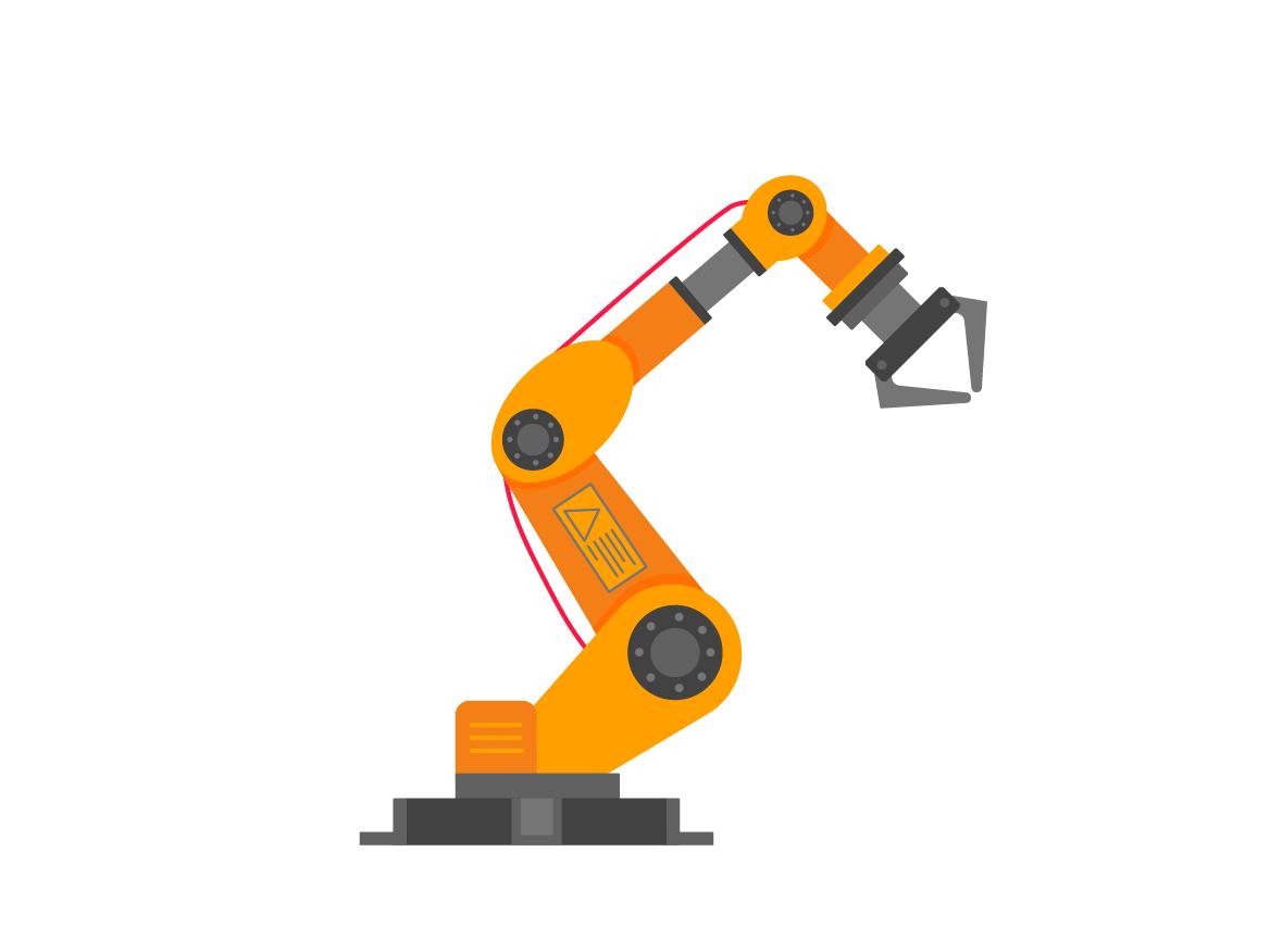 Robotic arm flat style design vector illustration by Konstantin