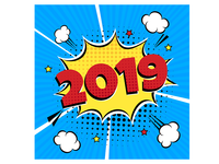 2019 happy new year christmas comic pop art speech bubble