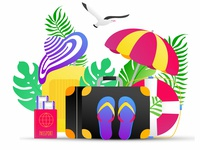 Summer holiday tropical vacation travel gradient composition