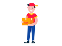 Fast delivery boy character flat style design