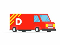 Fast red delivery vehicle car