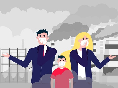 Confused man, woman, kid masks against smog.