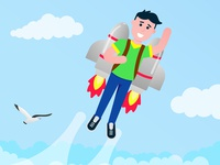 Boy flying with rocket jetpack like a super hero pilot