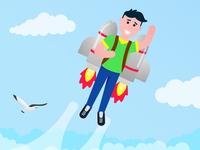 Boy flying with rocket jetpack like a super hero pilot