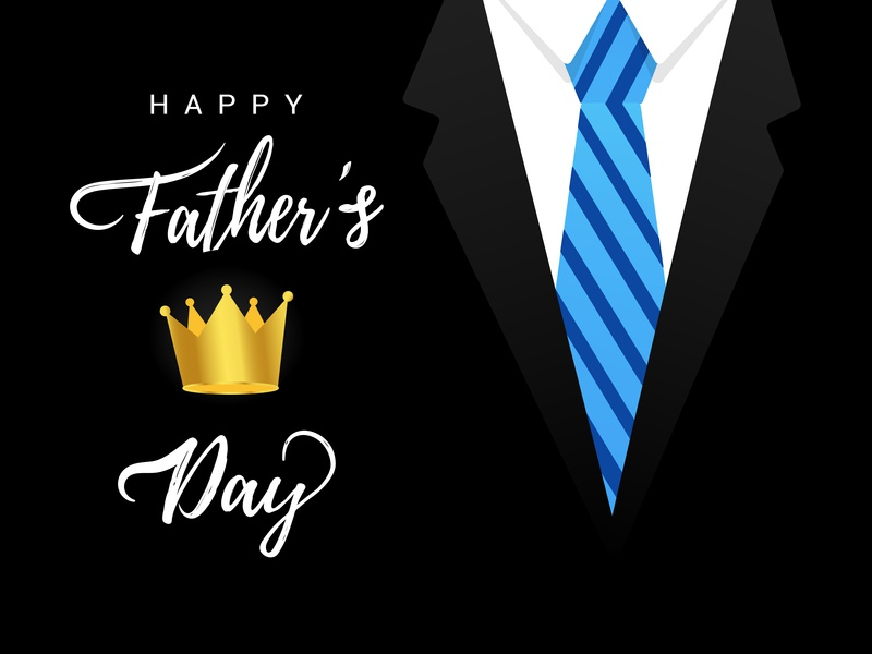 Happy Father's day postcard fathers day day daddy father crown necktie tie man vector illustration people concept flat