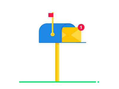Blue mail box with envelope letter delivery new email message envelope postal letter vector post mailbox