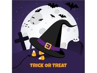 Happy Halloween text postcard banner with big black witch hat