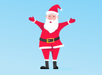 Santa Claus with hat, beard and smiling face