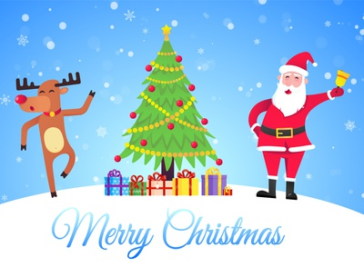 Santa Claus and the red nosed christmas reindeer and wish a merr