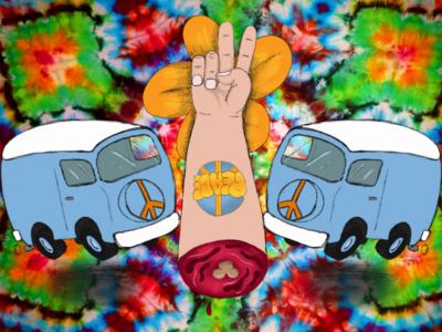 Hippie Fingers digital painting illustration hippie bus tie dye hippie
