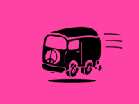Flying Hippie Bus Icon Version 2