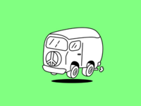 Flying Hippie Bus Icon Version 1