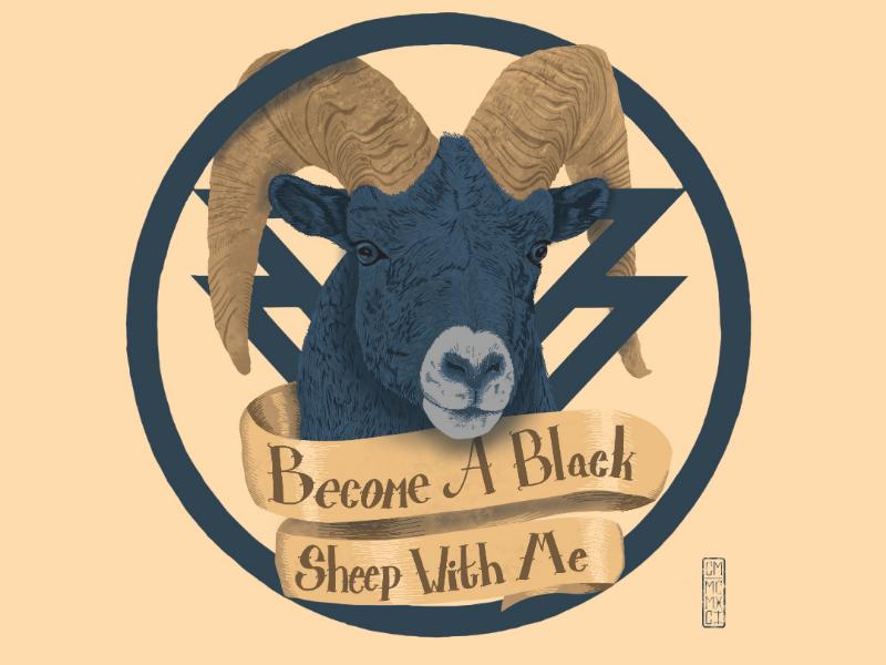 Blue and Gold black sheep digital painting music illustration