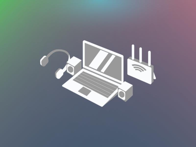 Orthographic Technology Setup project equipment. tech setup technology illustration design