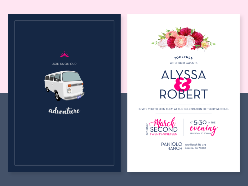 Kombi Wedding Invite bus kombi illustration wedding invite