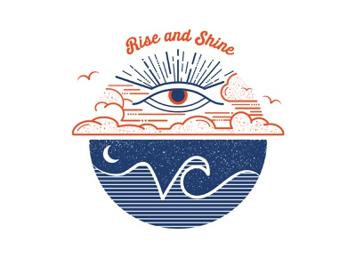Rise and Shine branding illustration clouds eye logo