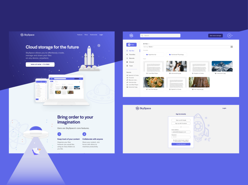 SkySpace desktop design mockup ux  ui landing page ux space cloud storage