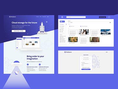 SkySpace desktop design mockup ux  ui landing page ux space cloud storage